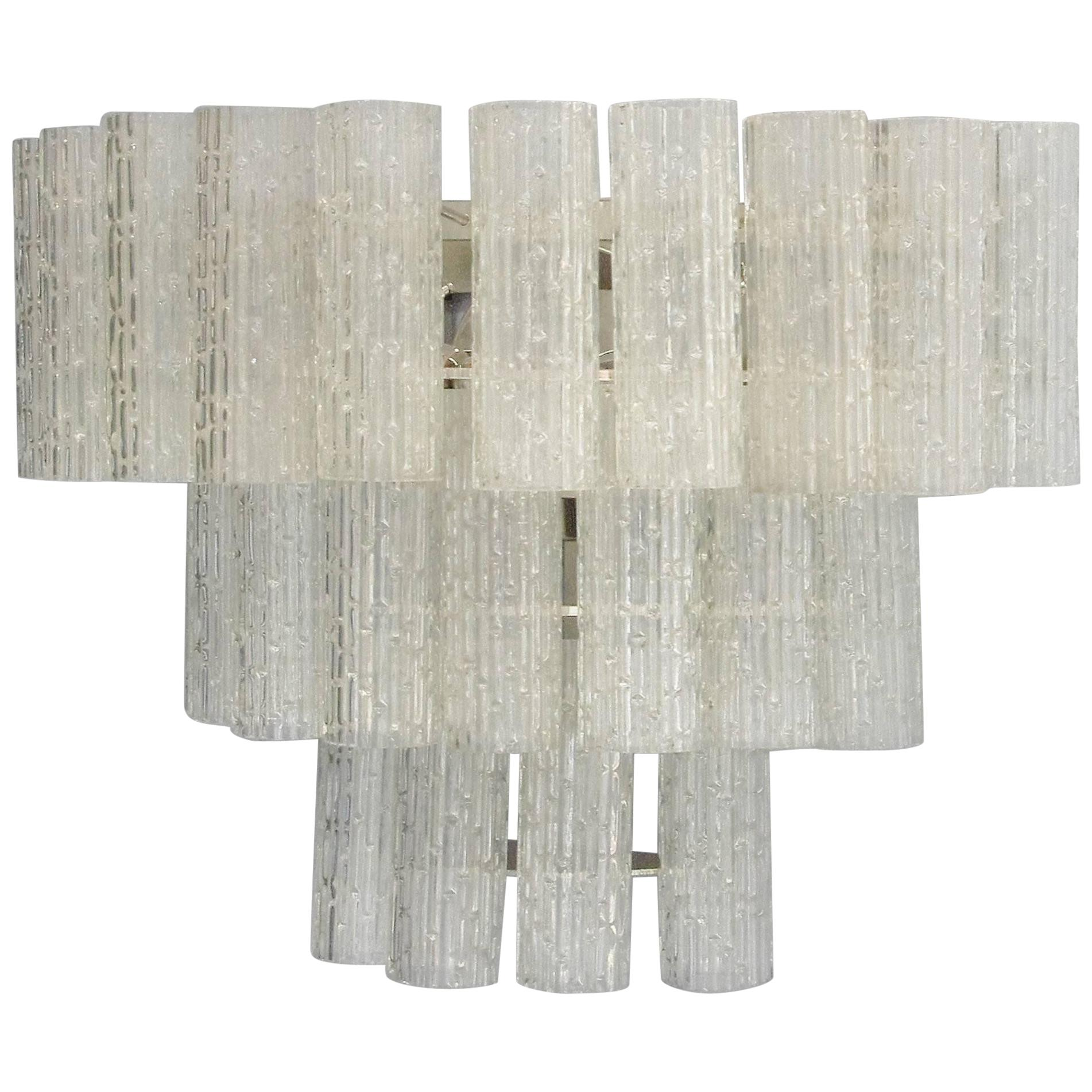 Eight Vintage Italian Sconces with Clear Murano Glass Designed by Mazzega, 1960s