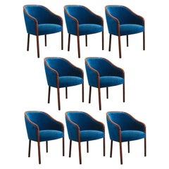 Eight Ward Bennett for Brickel Associates Blue Sapphire Velvet Armchairs