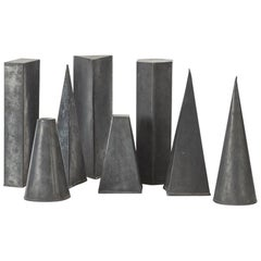 Eight Zinc Geometric Shapes, UK, circa 1950