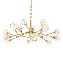 Eighteen-Light Chandelier in Antique Brass or Nickel Finish