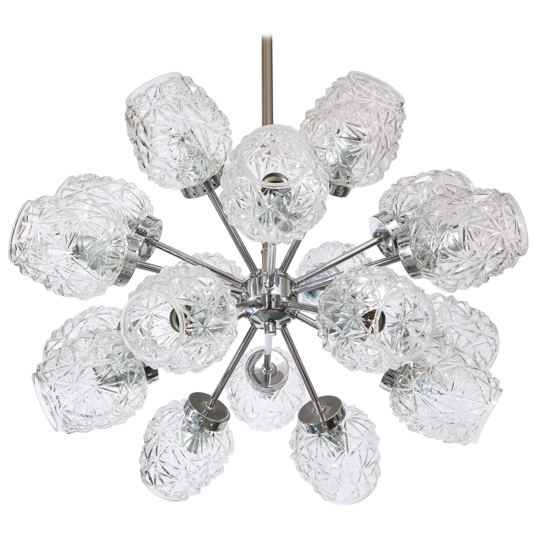 Eighteen Cut Glass Globe Chandelier