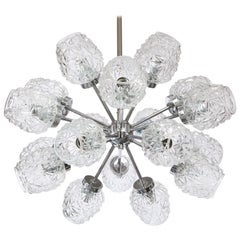 Eighteen Cut Glass Globe Chandelier