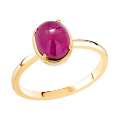 Eighteen Karat Cabochon Ruby Yellow Gold Solitaire Cocktail Raised Bezel Ring