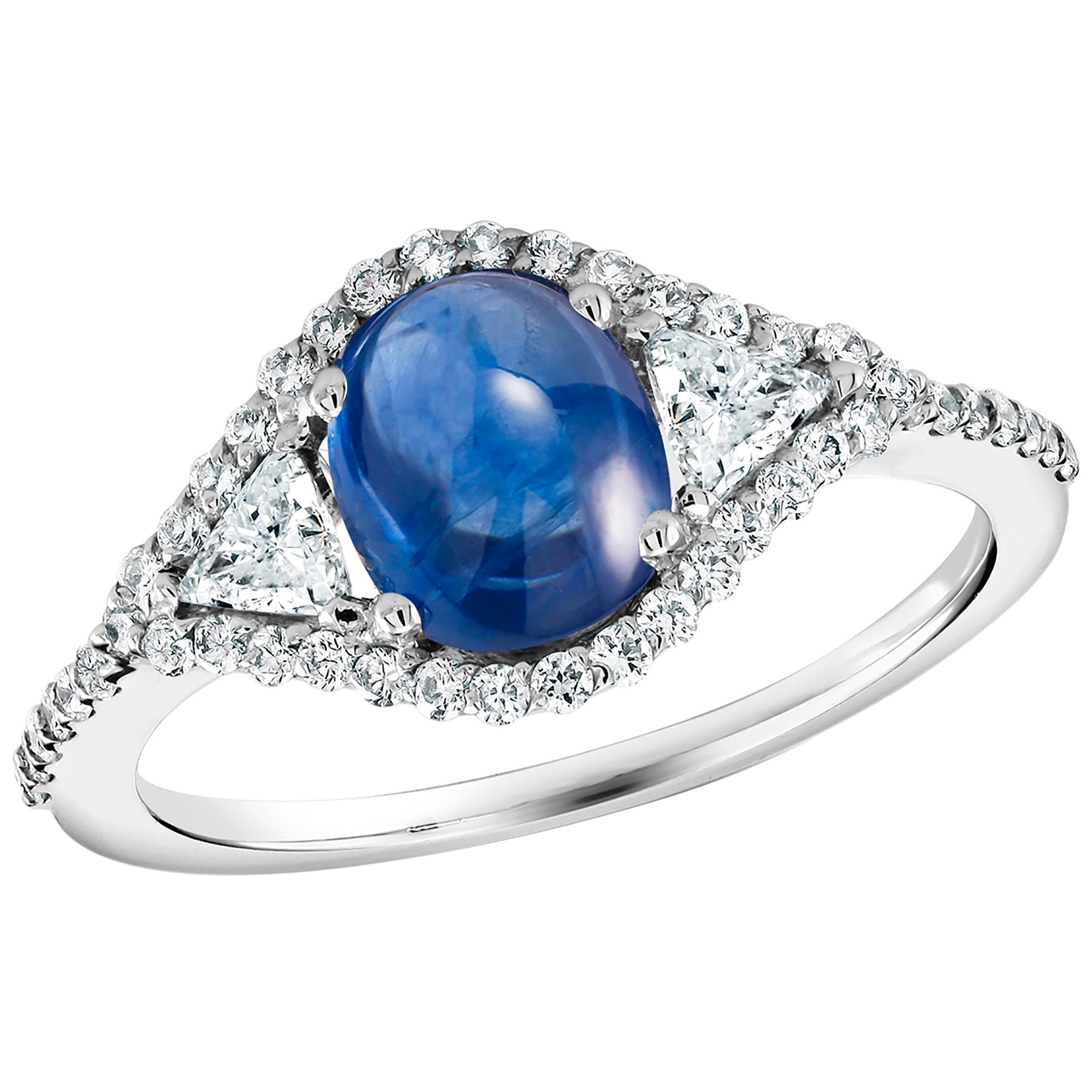 Eighteen Karat Cabochon Sapphire and Diamond Cocktail White Gold Ring