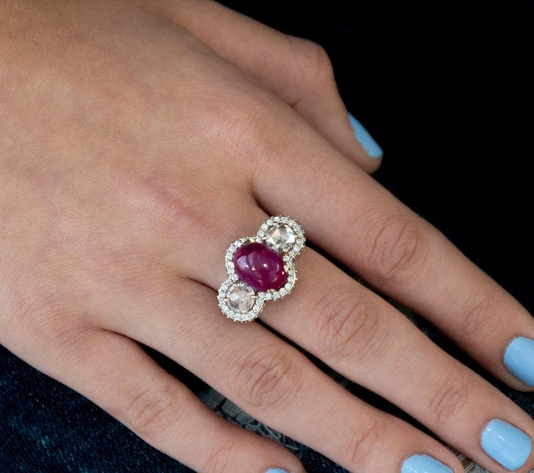 Oval Cut 18 Karat Gold Cabochon Ruby Diamond Cocktail Ring Weighing 8.85 Carat For Sale