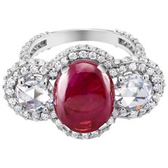 18 Karat Gold Cabochon Ruby Diamond Cocktail Ring Weighing 8.85 Carat