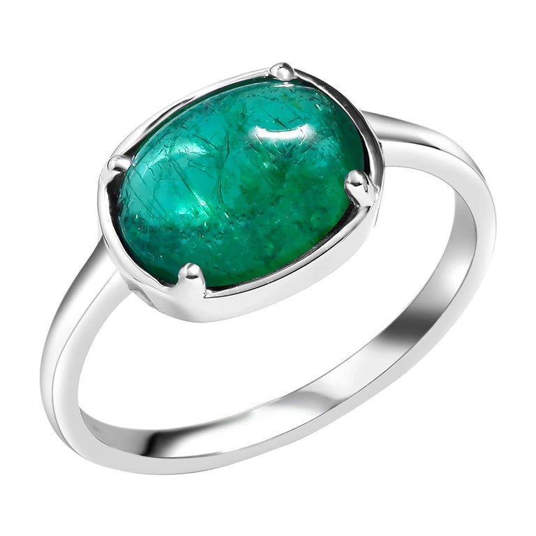 Eighteen Karat Gold Cocktail Ring with Crystal Cabochon Emerald For Sale