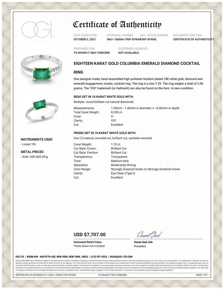Eighteen karats white and yellow gold emerald and diamond cocktail ring  Eighteen diamond weighing 0.23 carats Columbia green emerald cut emerald weighing 1.19 carats Emerald hue tone color is of grass green  Ring finger size 7.25 Emerald measuring