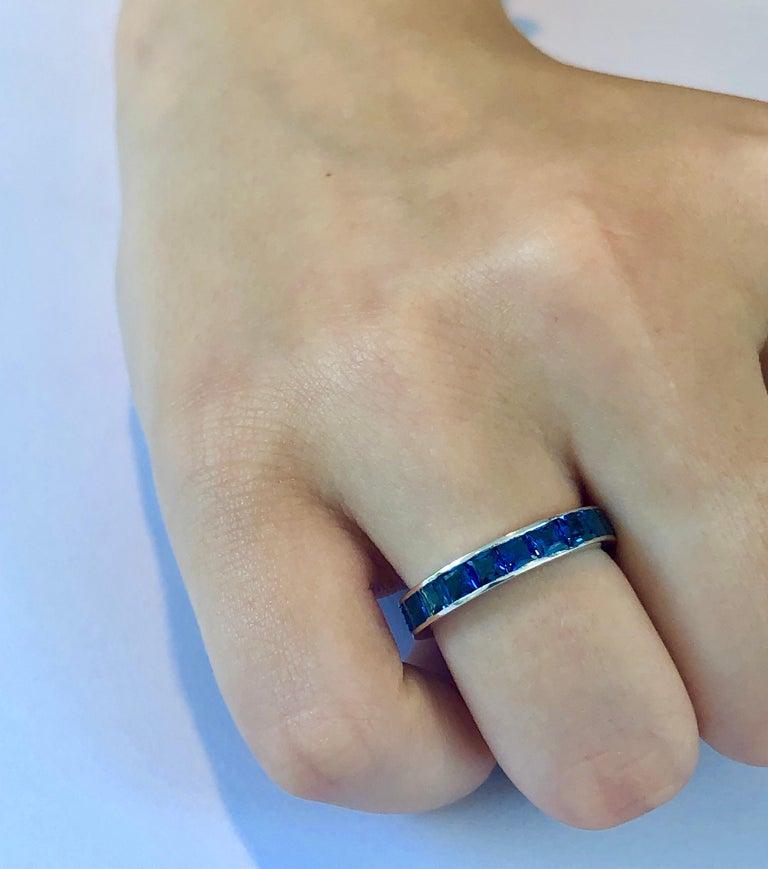 Princess Cut 18 Karat Gold Princess Sapphire Eternity Band Ring Weighing 4.60 Carat For Sale
