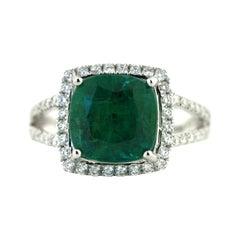 Eighteen Karat White Gold, Emerald and Diamond Ring