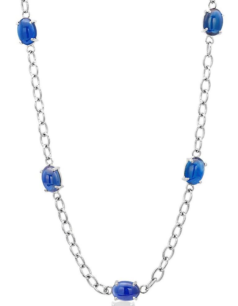 Modernist Eighteen Karats White Gold Five Cabochon Sapphires Necklace Pendant For Sale