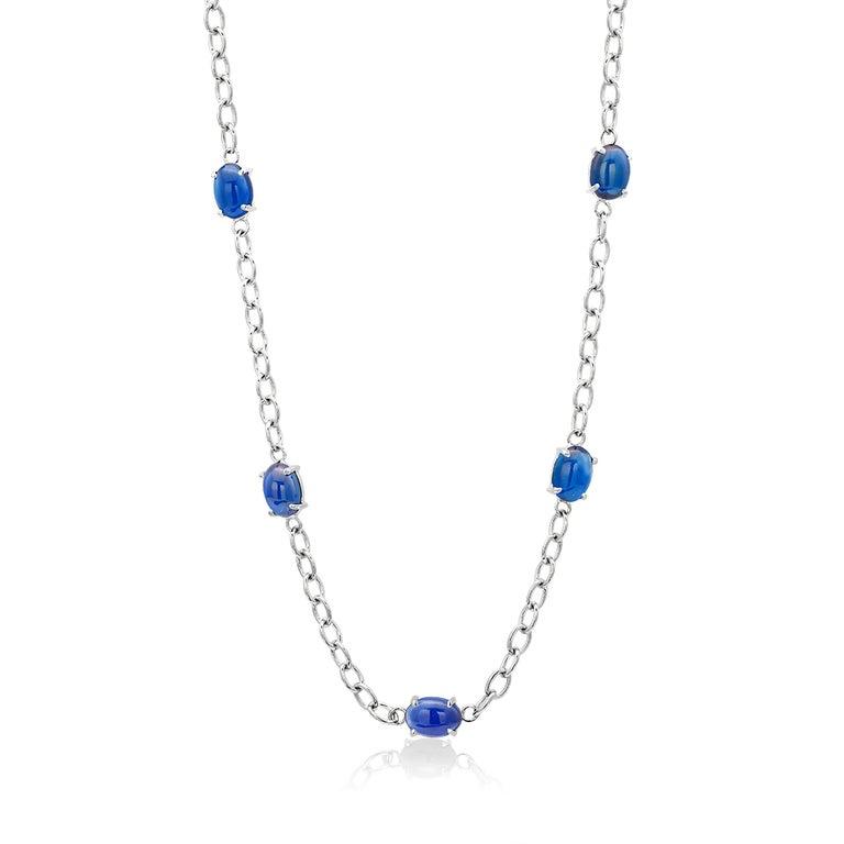 Women's or Men's Eighteen Karats White Gold Five Cabochon Sapphires Necklace Pendant For Sale