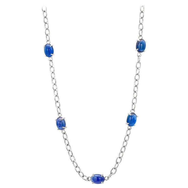 Eighteen Karats White Gold Five Cabochon Sapphires Necklace Pendant For Sale