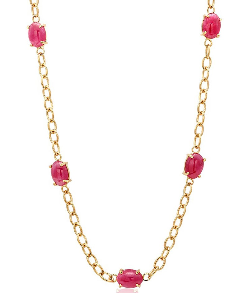 Modernist Eighteen Karat Yellow Gold Five Cabochon Ruby Necklace Pendant For Sale