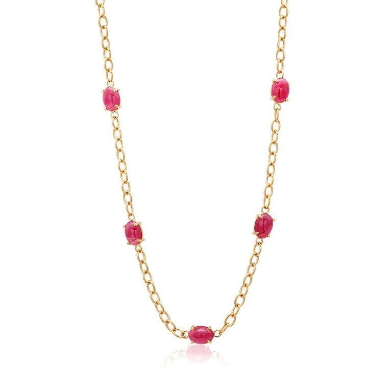 Eighteen Karat Yellow Gold Five Cabochon Ruby Necklace Pendant In New Condition For Sale In New York, NY