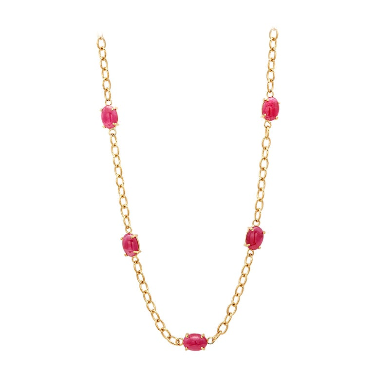 Eighteen Karat Yellow Gold Five Cabochon Ruby Necklace Pendant For Sale