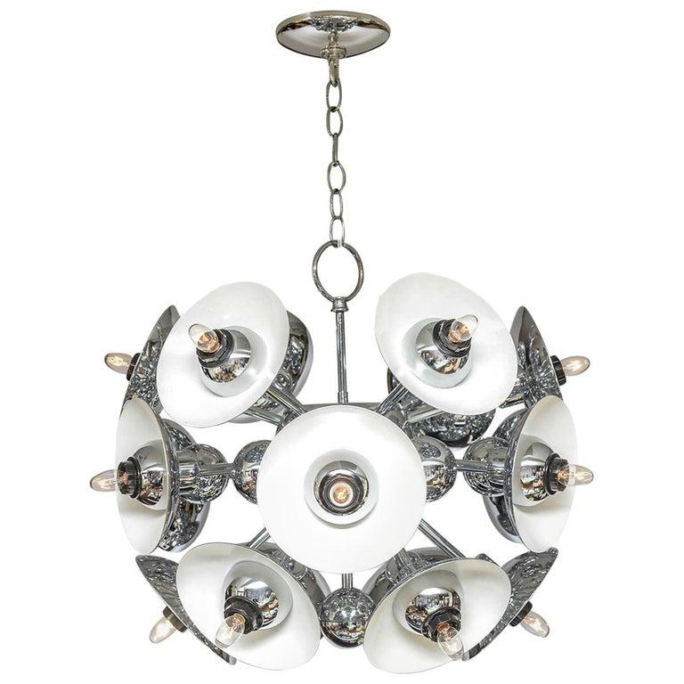 Eighteen-Light Chrome Sputnik Chandelier For Sale
