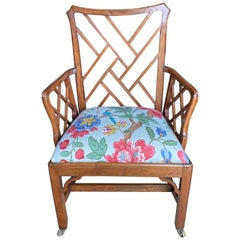 Eighteenth Century Chinese Chippendale Mahogany Cockpen Armchair