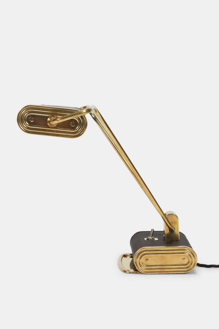 Brass Eileen Gray Desk Lamp Jumo, 1940s For Sale