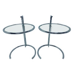 Eileen Gray E 1027 Style Adjustable Chrome and Glass Side Tables, a Pair