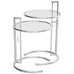 Eileen Gray Pair of E-1027 Side Tables, Glass and Tubular Steel, circa 1970