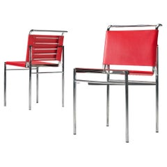 Eileen Gray Pair of Roquebrune Chairs in Red Leather