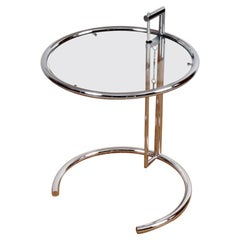 Eileen Gray Side Table in Chrome and Glass Model E1027