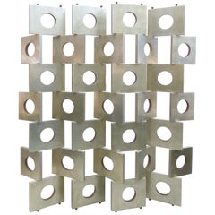 Eileen Gray Style Modernist Room Divider/Screen in Geometric Silver Leaf