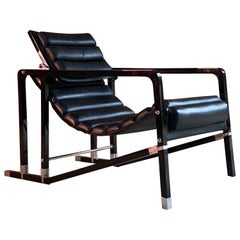 Eileen Gray Transat Chair in Black Leather Black Lacquer by Ecart, circa 2000