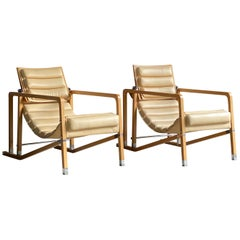 Eileen Gray Transat Chairs in Cream Leather and Beech by Ecart International