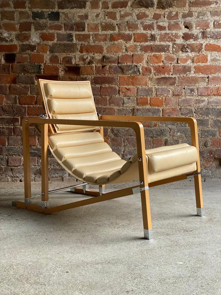 Bauhaus Eileen Gray Transat Chairs in Cream Leather & Beech by Ecart International