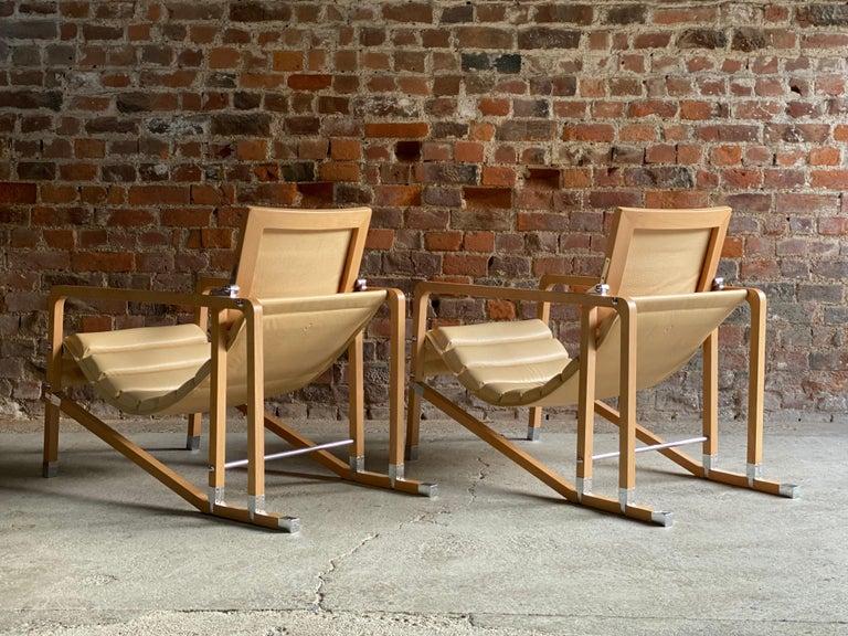Contemporary Eileen Gray Transat Chairs in Cream Leather & Beech by Ecart International