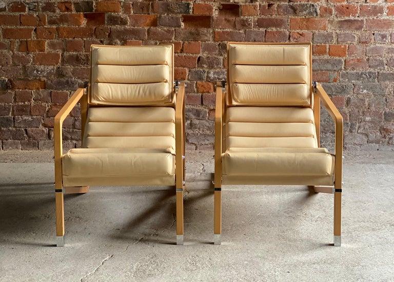Eileen Gray Transat Chairs in Cream Leather & Beech by Ecart International 1