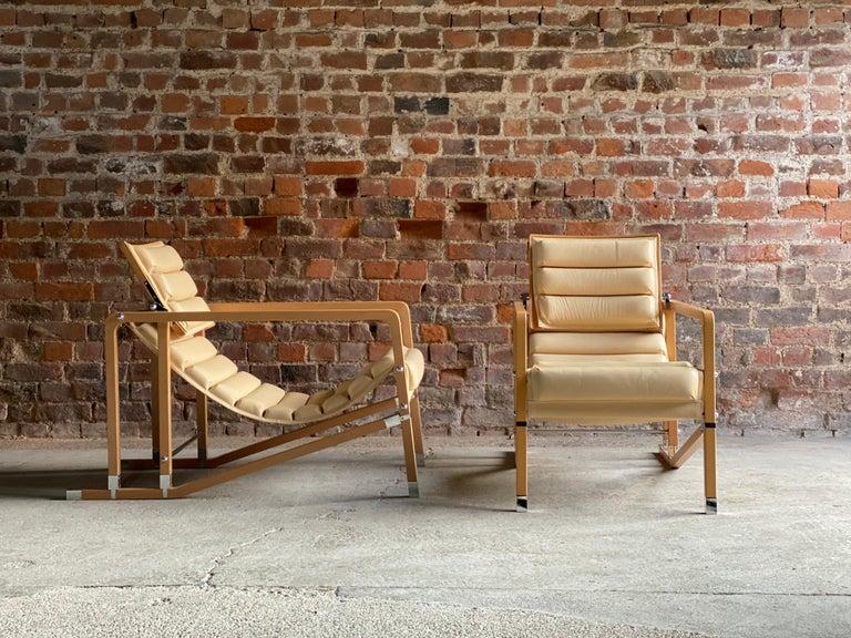 Eileen Gray Transat Chairs in Cream Leather & Beech by Ecart International 2