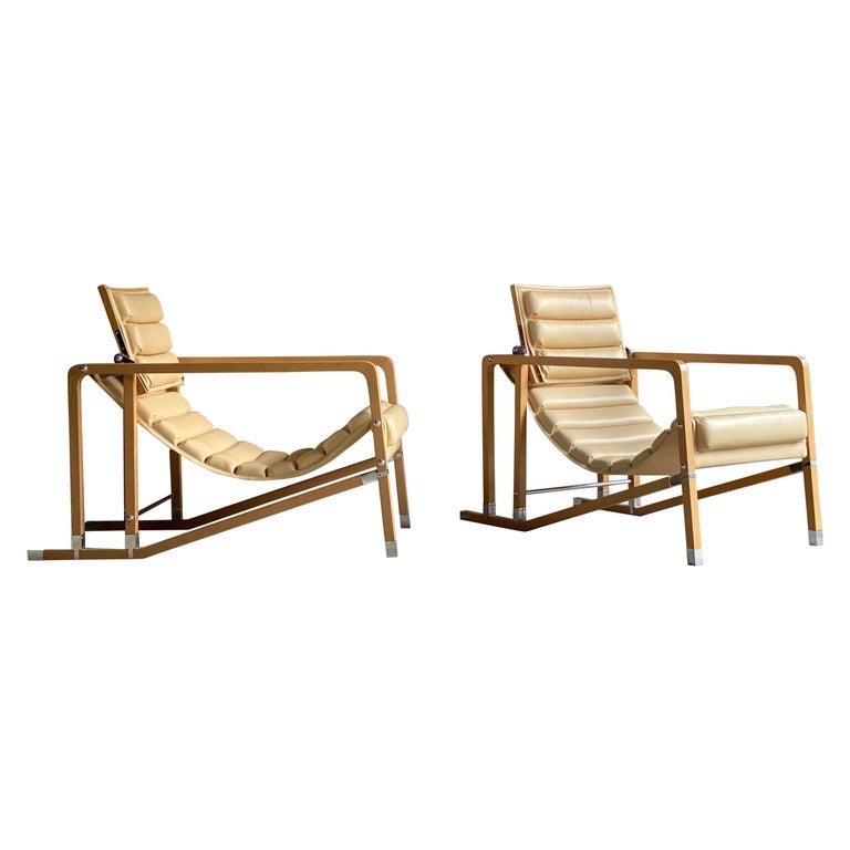Eileen Gray Transat Chairs in Cream Leather & Beech by Ecart International