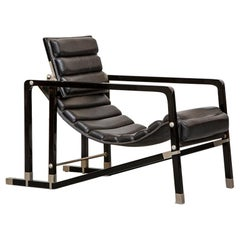 Black wood, metal and leather Eileen Gray Transat Lounge Chair, 1970s