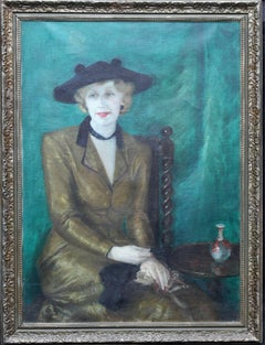 Portrait of a Young Woman - Irish Art Deco oil painting listed female artist