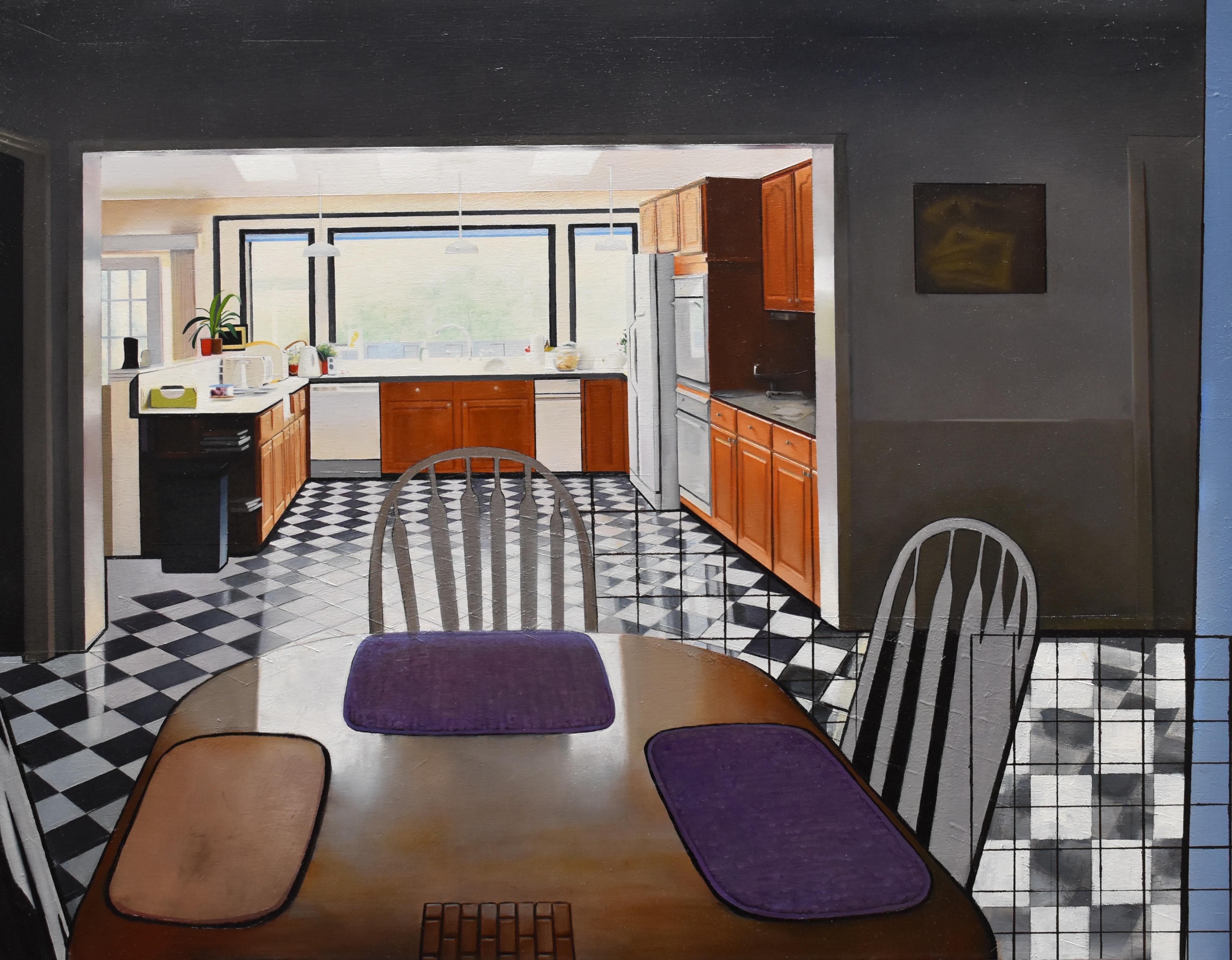 Hillsdale Kitchen, graphic surrealist interior oil painting, 2012