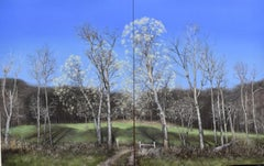 Posse Comitatus, oil on two-panel, realist northeastern landscape painting