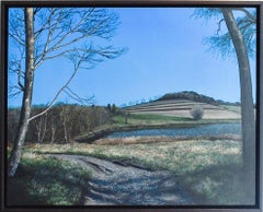 This Steeply Sloping Hour (Framed Photo Realist Rural  Landscape Painting)
