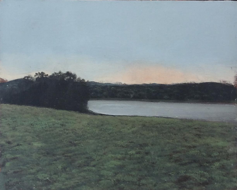 Untitled Landscape (Framed Oil on Canvas of Hudson Valley Riverbank at Dusk)