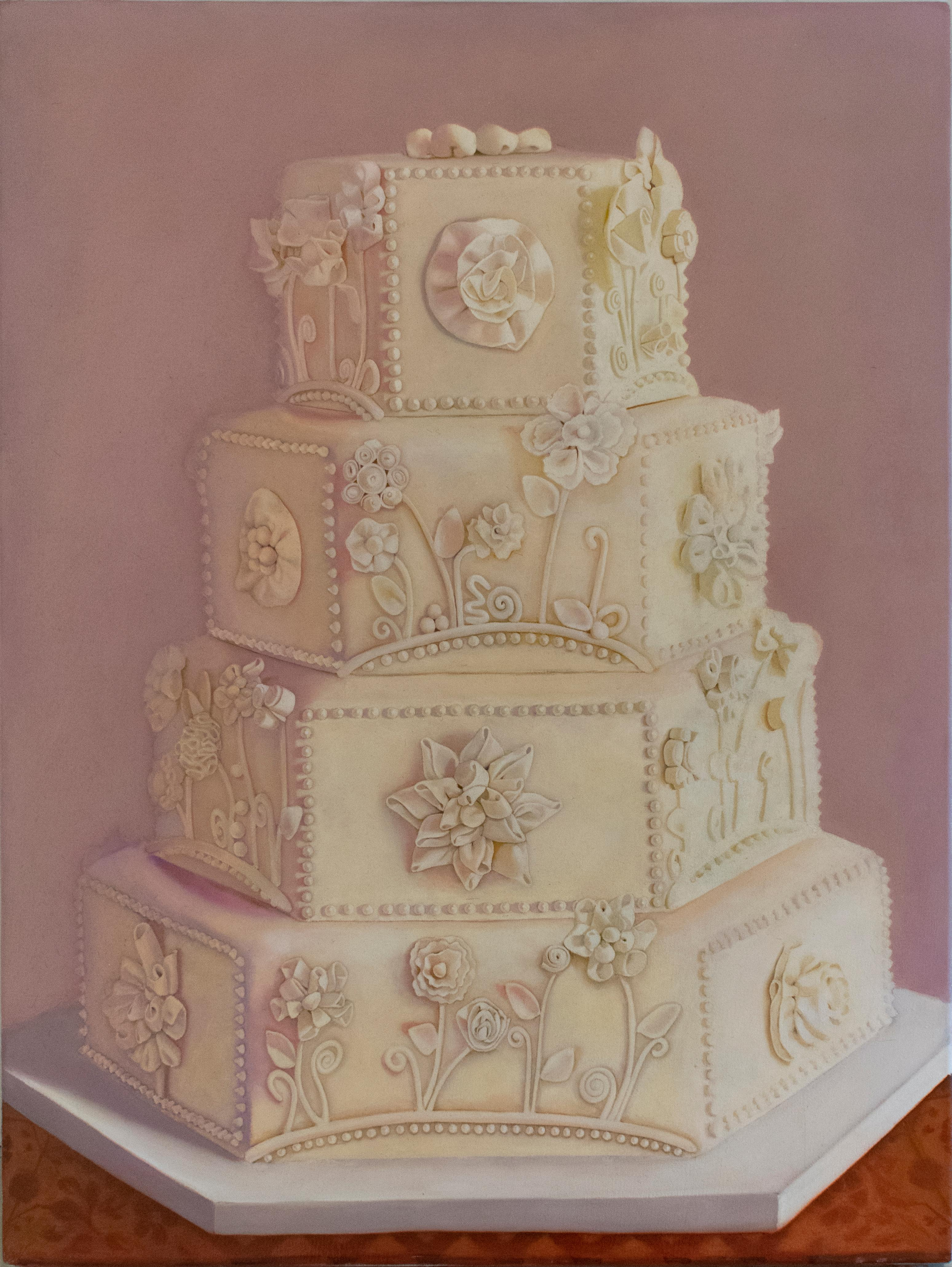 Wedding Cake (Realist oil Painting of Multi Tiered Iced Cake)
