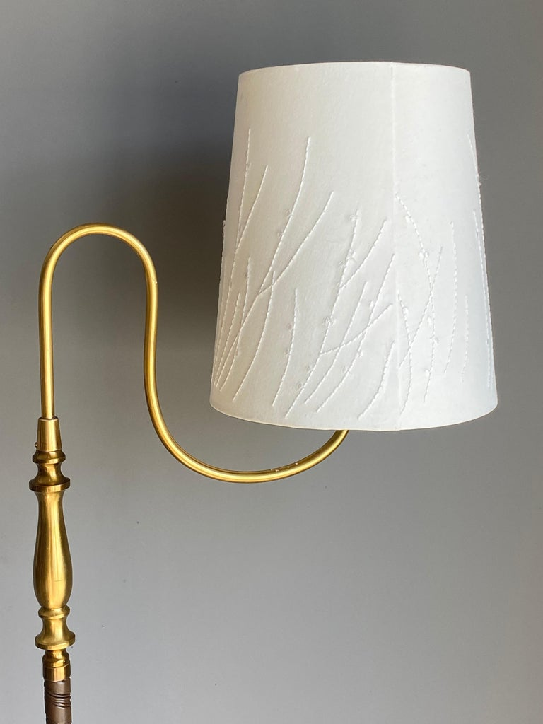 Scandinavian Modern Einar Bäckström, Rare Floor Lamp, Brass, Leather, Fabric, Sweden, 1950s For Sale