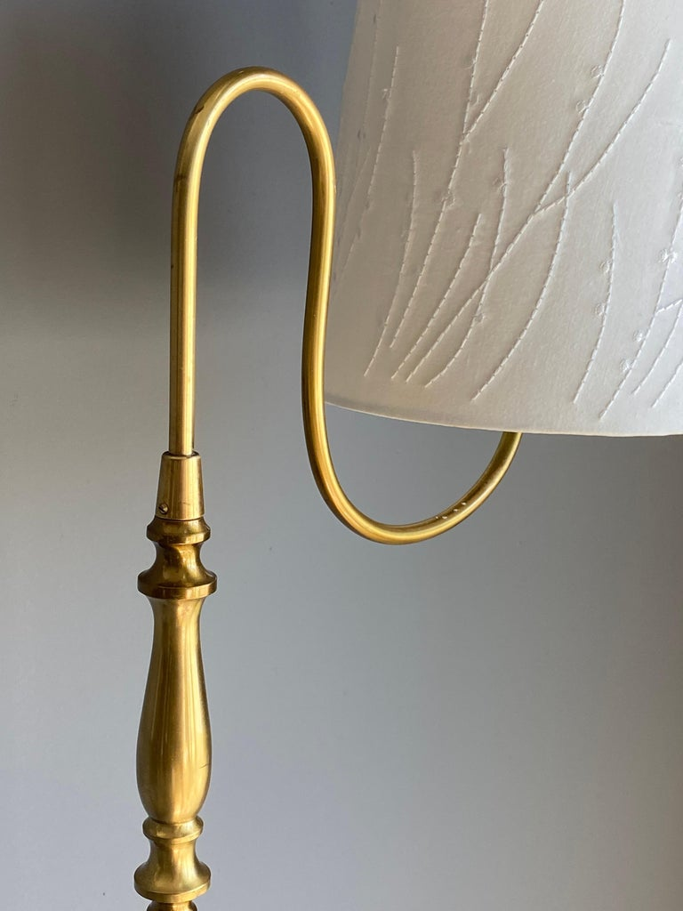 Swedish Einar Bäckström, Rare Floor Lamp, Brass, Leather, Fabric, Sweden, 1950s For Sale