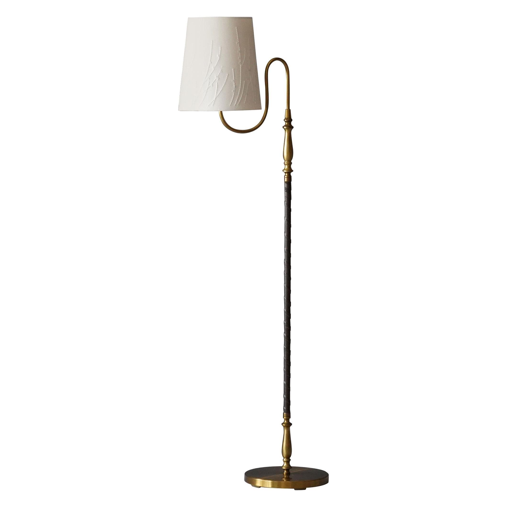 Einar Bäckström, Rare Floor Lamp, Brass, Leather, Fabric, Sweden, 1950s