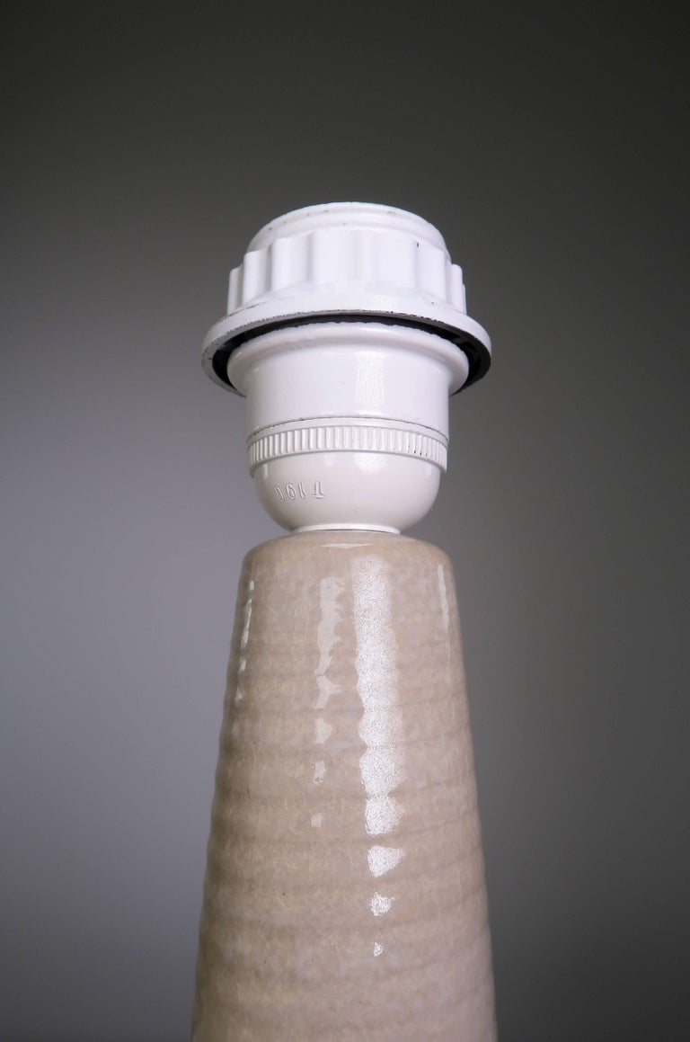 Mid-Century Modern Einar Johansen for Danish Soholm Warm Beige Handmade Ceramic Table Lamp, 1960s