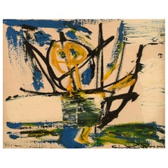 Einar Person, Sweden, Oil on Canvas, Abstract Composition, 1960's