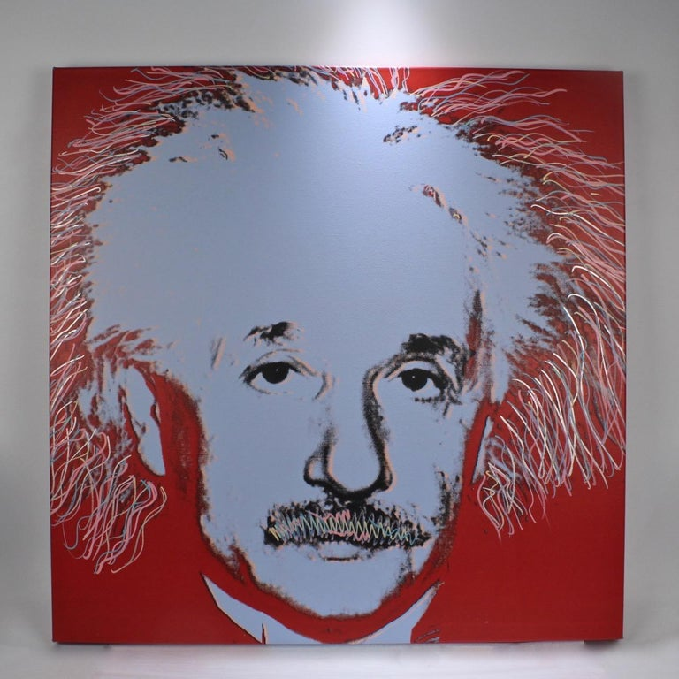 Post-Modern Einstein State I, a Pop-Art Screen-Print of Albert Einstein by Sak Steve Kaufman For Sale