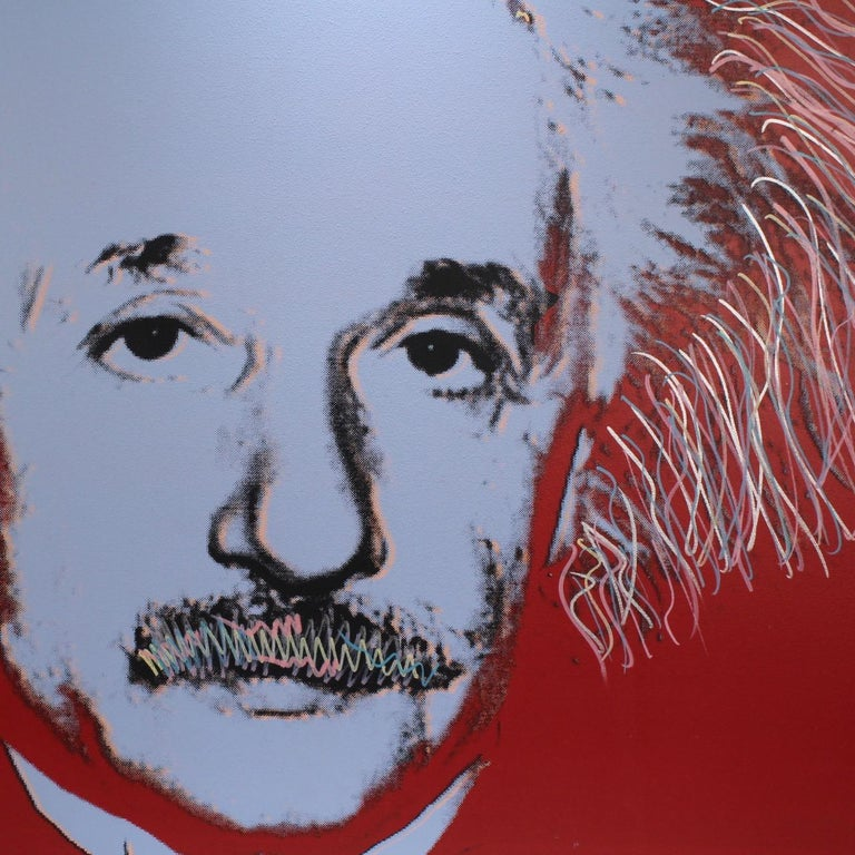 American Einstein State I, a Pop-Art Screen-Print of Albert Einstein by Sak Steve Kaufman For Sale
