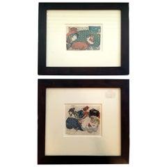 Eisen Shunga, Pair of Japanese Erotic Woodblock Prints